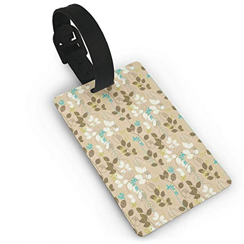 Retro Fall Leaves Earth Tones Foliage Field Gardening Yard Cottage Pattern Luggage Tags -