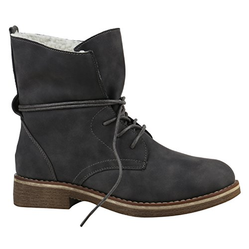 7a817d3ac30969 Stiefelparadies Warm Gefütterte Damen Stiefeletten Worker Boots Kunstfell  Schuhe Flandell Grau Weiss Bexhill