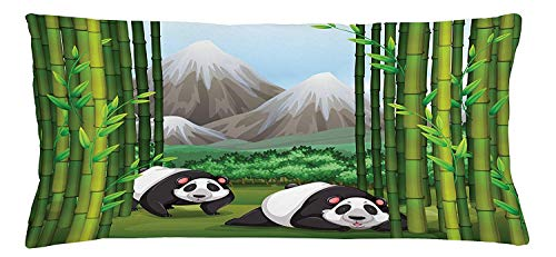 Tropical Throw Pillow Cushion Cover, Panda Bears Walking Among Bamboo Majestic Mountain Jungle Cartoon Illustration, Decorative Square Accent Pillow Case, 18 X 18 Inches