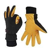 OZERO Thermo Handschuhe,Leder Warme Winter Handschuhe zum Laufen,1 Paar, Gelb, S
