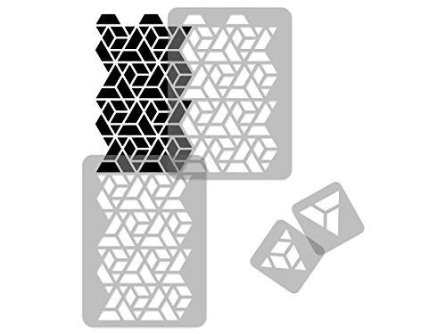 Geometrische Wiederverwendbare Wandschablone aus Kunststoff // 65x95cm // Dreiecke // Nahtlos Repetitive Allover Muster Vorlage
