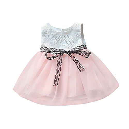 SANFASHION Baby Mädchen Prinzessin Kleid Neugeborenes Knopf Bowknot Spitze Net Garn Partykleid Tutu Kleider Kleidung Festzug ()
