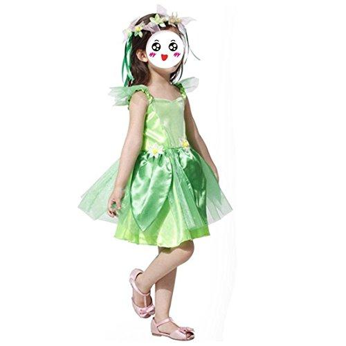 HBOS Tinker Belle Fairy-Mädchen Cosplay Kostüm mit Kranz-Perfekt für Jeden Kinderfaschung Birthdayparty,Allerheiligen. (Allerheiligen Kostüm Mädchen)