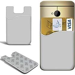 N4U Online® LG G3 Stylet Slim Silicone Bâton sur Crédit / Débit Carte Housse Étui - Blanc