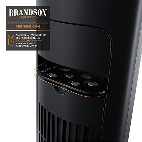 Brandson – Turmventilator mit Fernbedienung 108 cm | Ventilator 10° neigbar | Standventilator mit Oszilation | 65° oszillierend | 3 Geschwindigkeiten 4 Lüftungs-Modi Timer | GS | Cool Grey Bild 3*