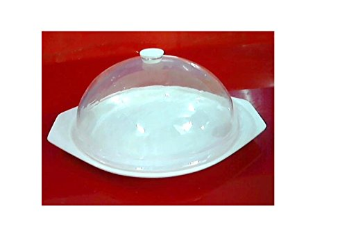 DELITE - Acrylic Dome Platter White Tray with Transparent clear cover , presentation serving tray , set of 2