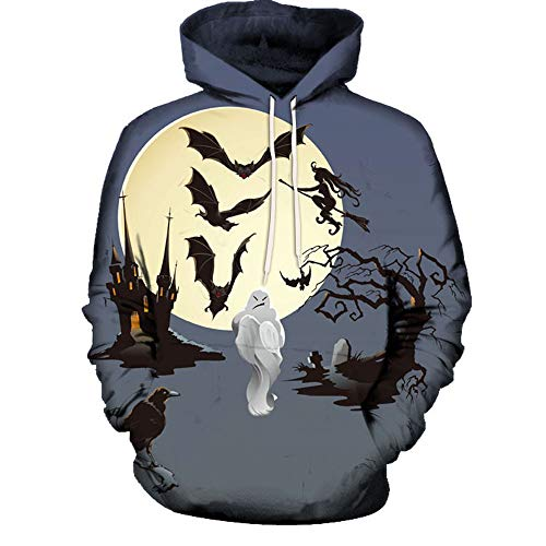 Kapuzenpullover Herren Piebo Lebensecht 3D Grafik Hoodie Sweatjacke mit Kängurutasche Pullover mit Kapuze Sweat Hood Halloween Thema...