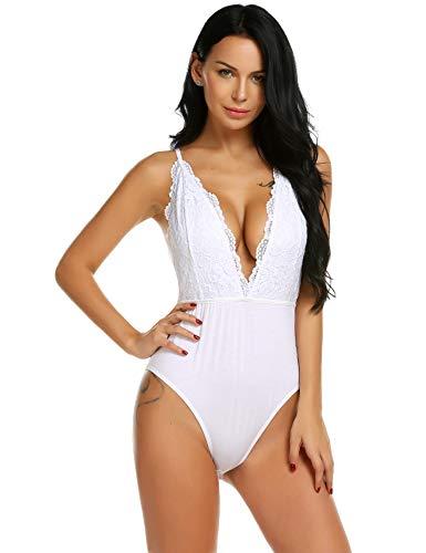 Scallop camicia da notte in cotone e tulle trasparente con chemise di con nastri in raso e perizoma abbinato per donna