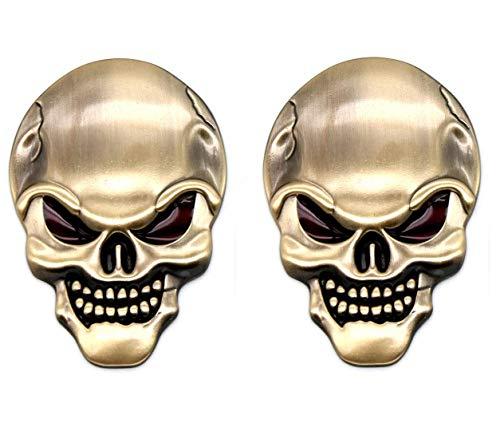 BigBigShop 2 Stück 3D Schädel Auto Aufkleber, Zink-Legierung Metall Motorrad Aufkleber, Schädel Emblem Abzeichen Auto Styling Stickers Zubehör (Gold)