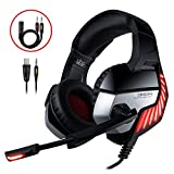 Cascos Gaming CHEREEKI Cascos para Juegos PS4, PC, Xbox One Auriculares Gaming Estéreo Ajustable Gaming con Micrófono y Control de Volumen, Bass Surround y Cancelación de Ruido