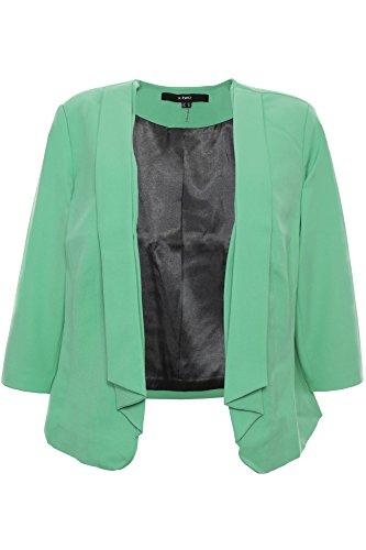 X Two Jean Blazer Sakko Cardigan Jacke Damen Lagenlook Plusgröße Übergröße, Farbe:grün, Damengrößen:52