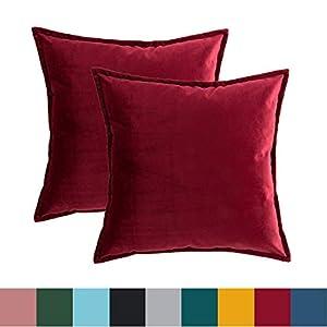 Bedsure Kissenhülle Kissenbezug 45x45 cm Rot 2er Set für Sofakissen Dekokissen - Samt Kissenbezüge Zierkissenbezug Zierkissenhülle für Weihnachten aus Super Weicher und Flauschiger Uni Farbe Samt