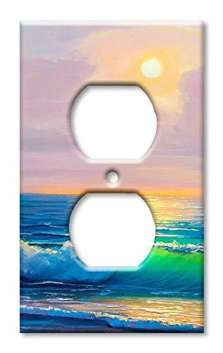 Wandteller, Übergröße, Motiv: Strand in the Morning Steckdose Mehrfarbig -