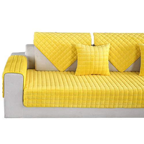 Kswd copertura divano, velluto copridivano antiscivolo copri divano divani inverno divano in pelle di spessore a scacchi, giallo,70x70cm