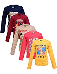 Krystle Boy's Cotton Full Sleeves Round Neck T-Shirts - Pack of 5