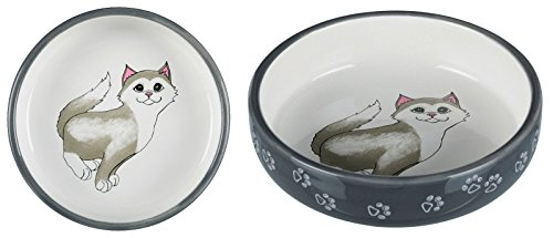 Trixie 24784 Keramiknapf, Katze, für kurznasige Rassen, 0,3 l/ø 15 cm, grau/weiß