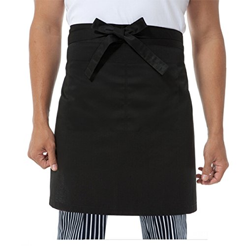 Doppel-schürze (TINKSKY Professionelle Unisex Frauen Männer Küche Kellner Schürze Mit Doppel-Seitentaschen (Schwarz))