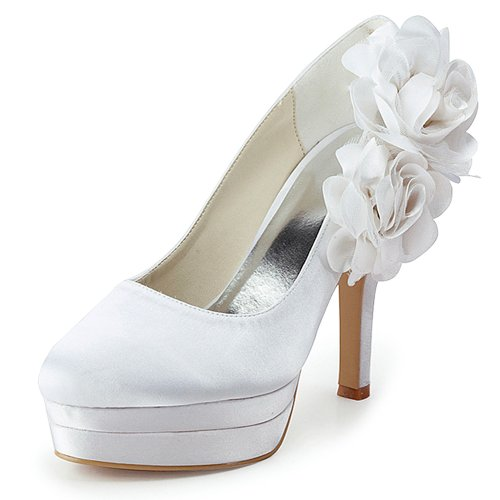 Elegantpark EP11089-2PF Zwei Blumen Plateua Satin Geschlossen Zehen Stiletto Pumps Damen Brautschuhe Weiß