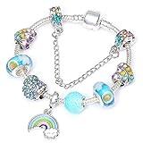 QWERST Bracelet Arc-en-Ciel Bijoux De Mode Européenne Bracelets De Charme & Coeur Bleu Bangles Bracelets De Perles pour Les Femmes,18Cm