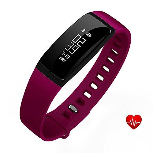 Fitness Tracker, Gesundheit Schlafrhythmus Überwachen Blutdruck- & Herzfrequenz-Messung Fitness-Armband, wasserdichter OLED Schrittzähler, Wireless Bluetooth 4.0 Smart Armband für Sport im Freien zB. Rennen oder Laufen , für iPhone / Android Smart Phone