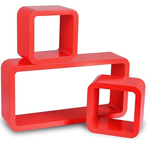 WOLTU RG9210nrt Wandregal Cube Regal 3er Set Bücherregal Regalsysteme, Retro Hängeregal Würfel, Rot