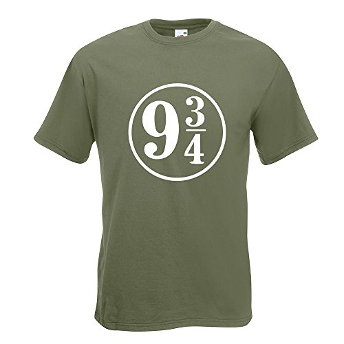 KIWISTAR - Platform 9 3/4 London Kings Cross T-Shirt in 15 verschiedenen Farben - Herren Funshirt bedruckt Design Sprüche Spruch Motive Oberteil Baumwolle Print Größe S M L XL XXL Olive