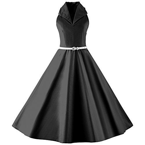 YouPue Rétro Robes Années 50's Style Swing Plissé Robe de Soirée Vintage Cocktail pour Robe Noir