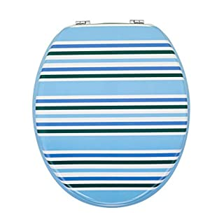Aqualona Toilet Seat | Wooden Design is Lightweight and Strong | Fits Standard Elongated Toilets | Nautica Stripe Design, Blue