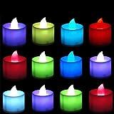12 Stk LED Teelichtern, LED Kerzen, Flammenlose Kerzen, Farbwechsel mit Batterie, Elektrische Teelichtern für Wohnaccessoires Kirche Bars Hochzeit