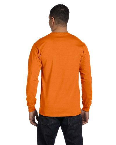 Hanes Orange Shirt T 1 1 Light Blue Long Tagless Sleeve Bwq4BFr