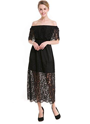 KAXIDY Damen Elegant Spitzen Abendkleid Brautjungfer Cocktailkleid Faltenrock Langes Abendkleid Partykleid Schwarz