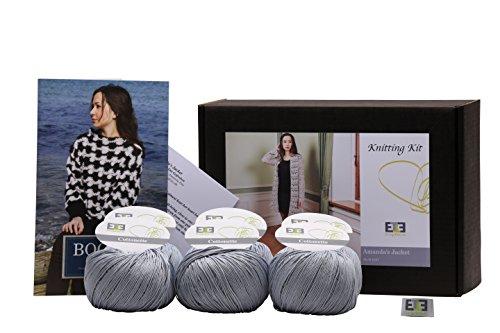 designette Dänemark Erwachsene Cardigan Crochet Kit, grau, 12Stück -