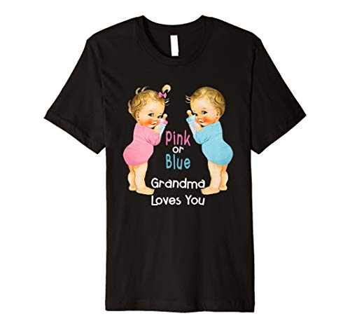 Cute Pink oder Blau Oma loves you Baby Dusche T-Shirts