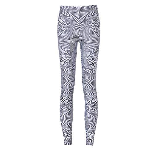 XNRHH Lady Digital Print Leggings à Rayures Irrégulières Pantalons Yoga Pantalon