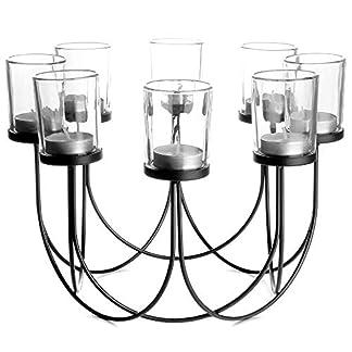 Porta té de cristal | Candelero | Decoraciones de mesa de comedor | Centro de mesa de decoración de la boda | Accesorios para el hogar vintage | M&W (Negro)