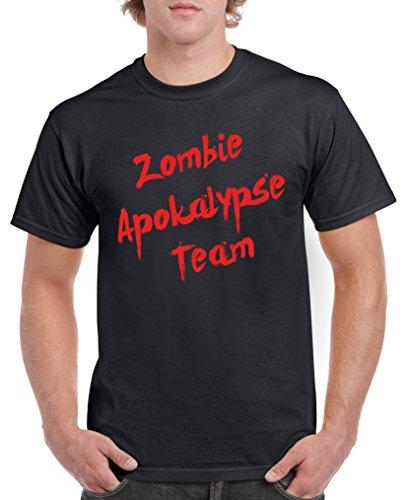 Comedy Shirts - Zombie Apokalypse Team - Herren T-Shirt - Schwarz/Rot Gr. XXL