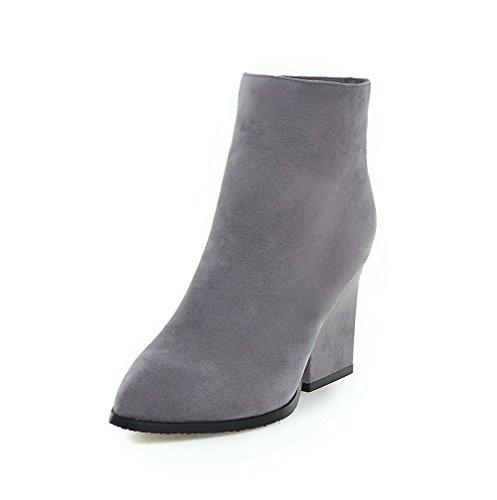 Voguezone009 Femmes À Talons Hauts Pure Shimmer Zipper Shoes Bout Pointu Gris Bottes