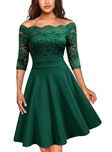 MISSMAY Damen Vintage Abendkleid 1950er 3/4 Arm Off Schulter Cocktailkleid Spitzen Schwingen Pinup Rockabilly Kleid Grün Gr.XXL