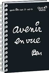 Quo Vadis - Ben - Textagenda 21 Spiralé - Agenda Scolaire Journalier 13x21 cm Noir - Année 2015-2016