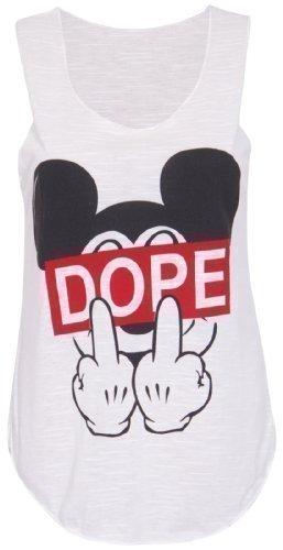 Damen Stretch T-Shirt mit DOPE-Slogan und Mickey Mouse Finger mit Rundhalsausschnitt Ärmelloses Top - EU 40-42, Creme