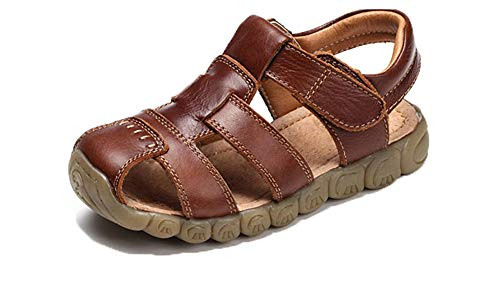 Sandalen Jungen Pool Beach Sneakers Kinder Mädchen Trekking Schuhe aus Leder Sommer Sandaletten Sports Weiß Schwarz Gelb Braun 21-36 Braun 21 - Weiß Schwarz Leder Schuh