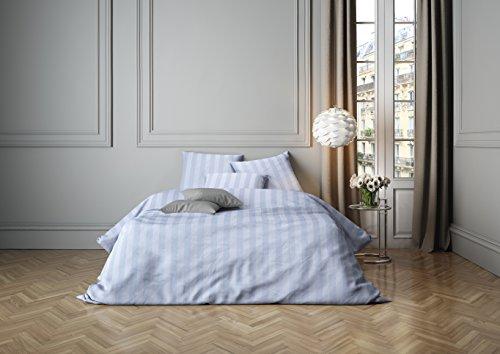 Mistral Home lenzuola Satin Stripe Heather Blue 80x 80+ 135x 200cm (120041)