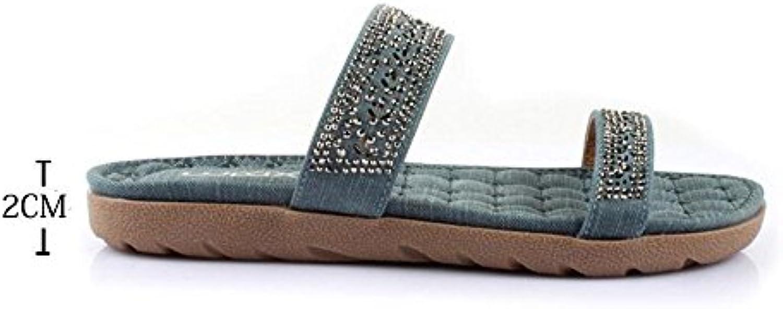 LISABOBO La primavera y el verano, zapatillas de moda Zapatillas casual zapatillas de playa elegante negro / Azul...