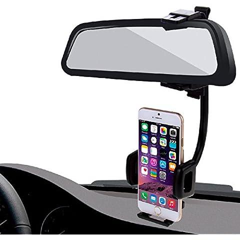 HAWEEL ® 2 en 1 Soporte Universal de coche espejo retrovisor soporte de teléfono móvil para el iPhone 6 / iPhone 5 & 5 & 5 C / Smartphone, abrazadera tamaño: 40mm-80mm(Black)