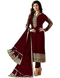 c2730ba82a cloudbox Women's Resham Embroidery Georgette Semi Stitched Salwar Kameez