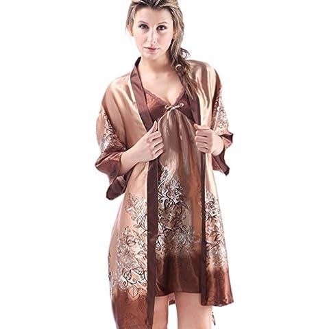 CHENGYANG Mujer Conjunto de Pijama Seda Ropa de Dormir Camisón 2 Piezas