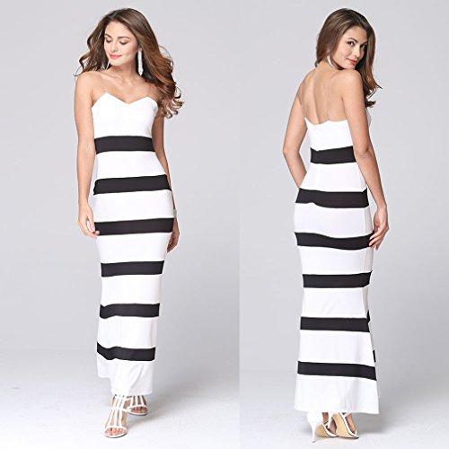 La Vogue Robe Longue Moulante Femme Bustier Dos Nu Bicolore Sans Manche Blanc