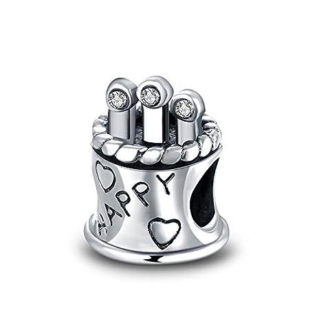 Hmilydyk Argent sterling JAN-DEC Birthstone Cristaux Swarovski Charm Joyeux anniversaire Perle Pandora Bracelet
