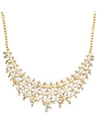 Souarts Femme Collier Exagerer Chaine de la Clavicule Plastron Pendentif Strass Perles Artificielles Couleur Doré 41cm 1PC
