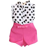 ❥Elecenty 2PCS Bekleidungssets Mädchen Kleidung Set ,Sommer Outfit Set Ärmellos Tupfen Drucken T-Shirt Tops Hemd+Bowknot Kurze Hosen Baby Tägliche Kleidung Pullover